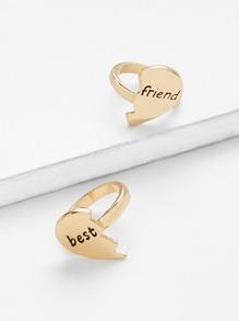 Heart Design Couple Rings Set 2pcs