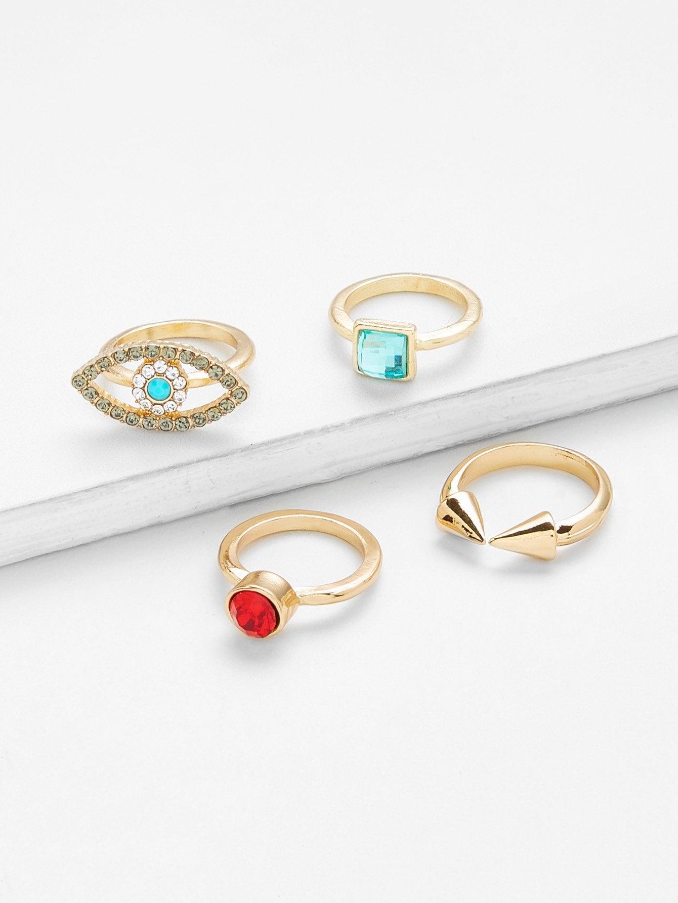 Eye Design Rhinestone Rings Set 4pcs 4pcs sweet rhinestone openwork heart design rings for women
