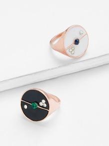 Round Design Ring Set 2pcs