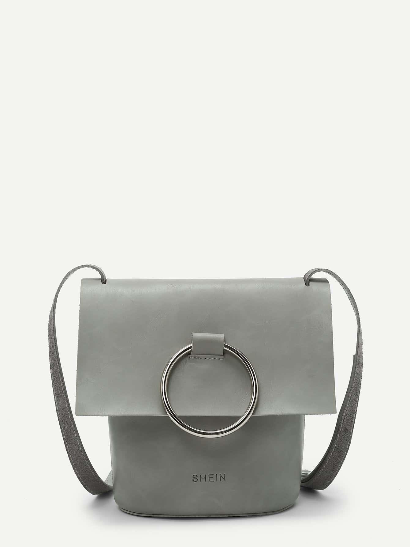 Ring Front Flap Crossbody Bag ring front flap shoulder bag