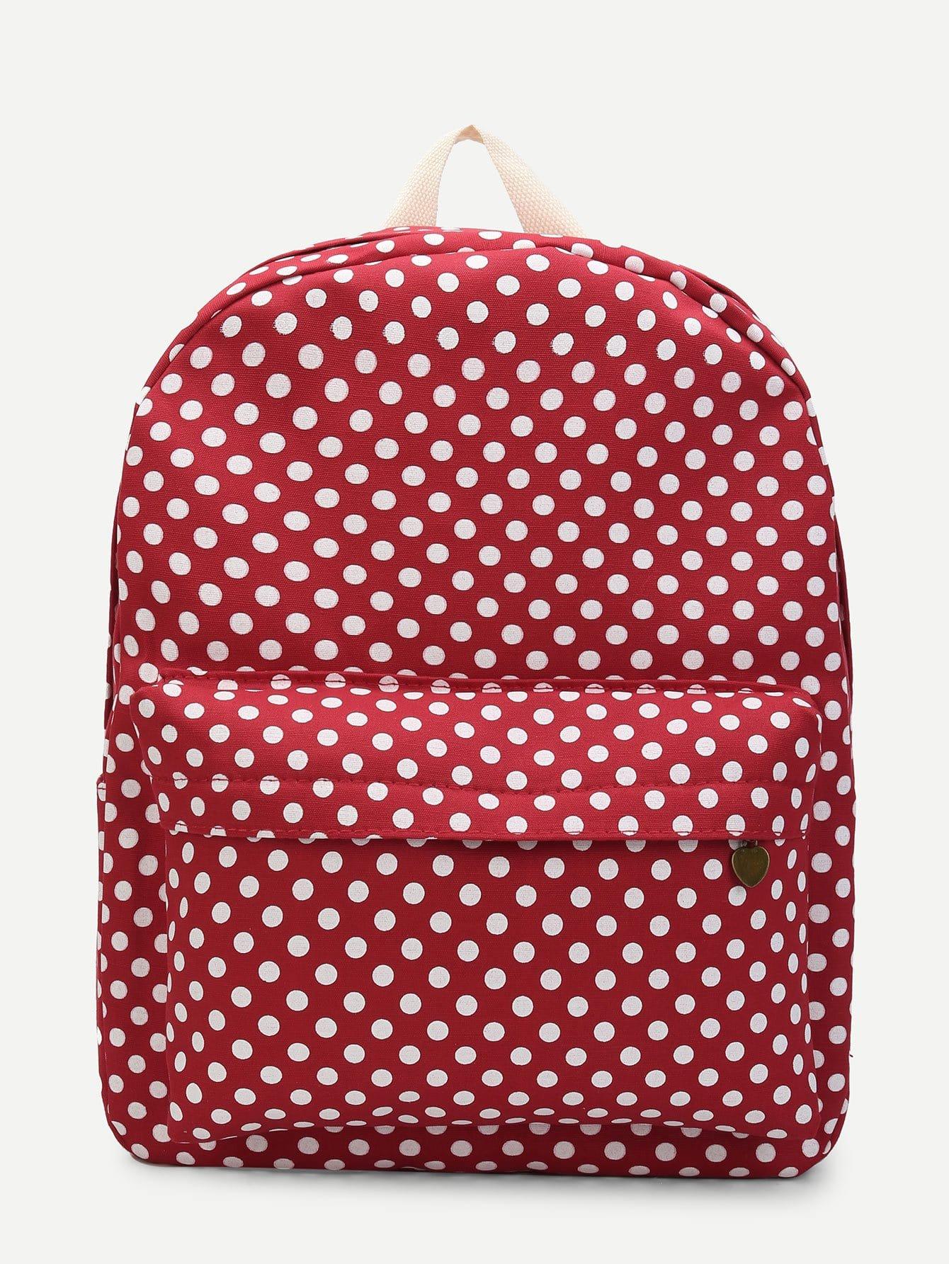 Polka Dot Print Pocket Front Backpack polka dot backpack