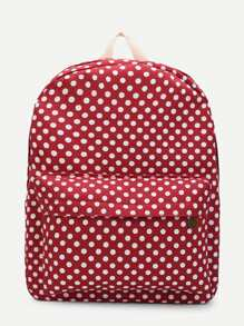 Polka Dot Print Pocket Front Backpack