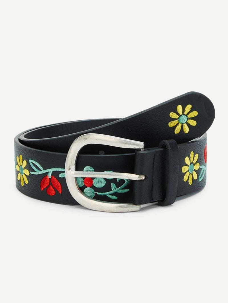 Calico Embroidered PU Belt, Black