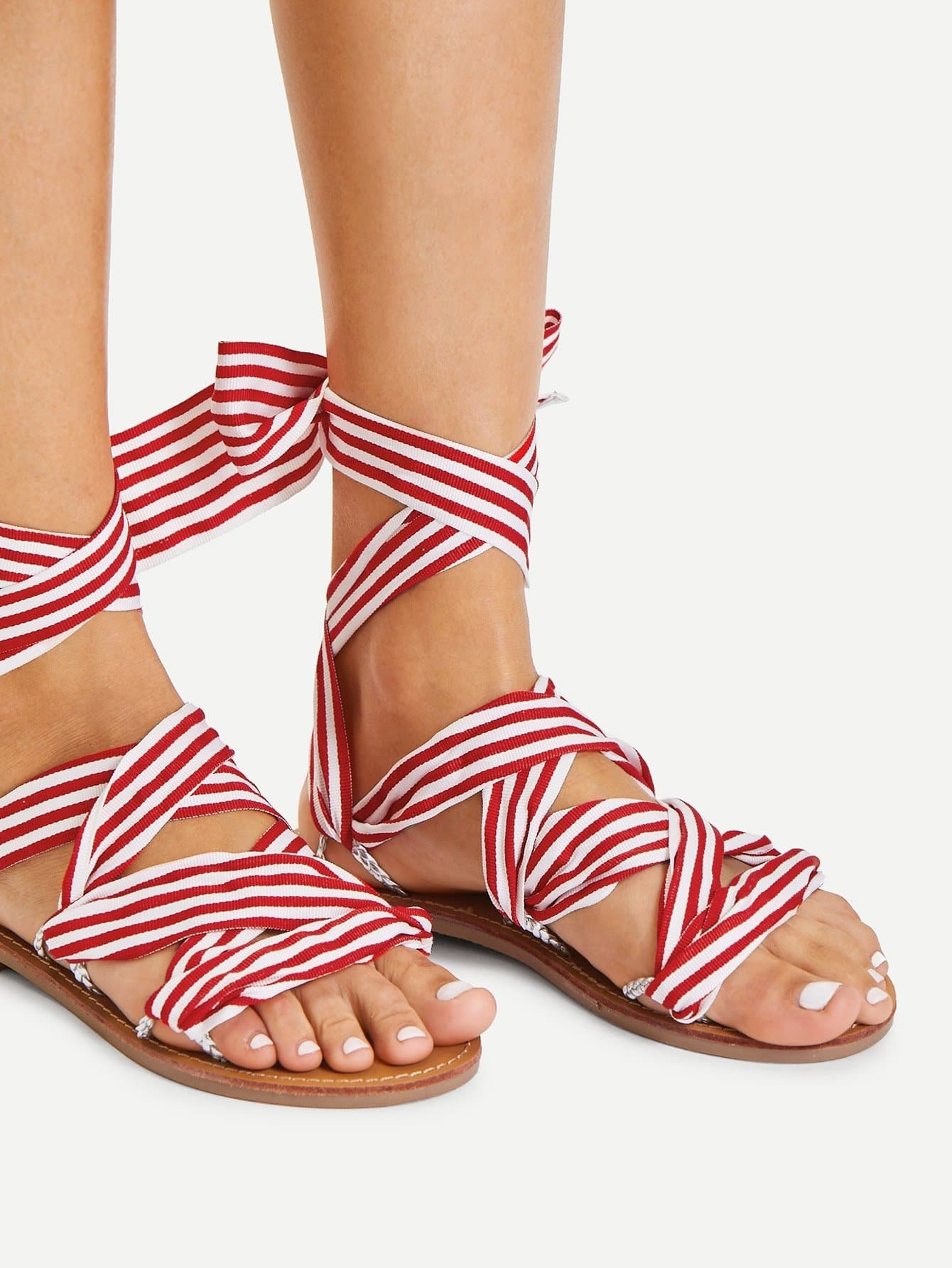 Tie Leg Striped Design Flat Sandals кпб cl 219