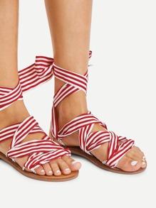 Tie Leg Striped Design Flat Sandals