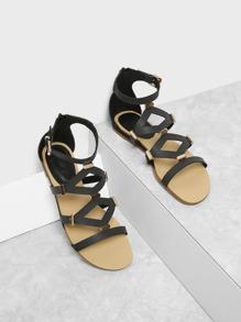 Metal Detail Back Zipper PU Sandals