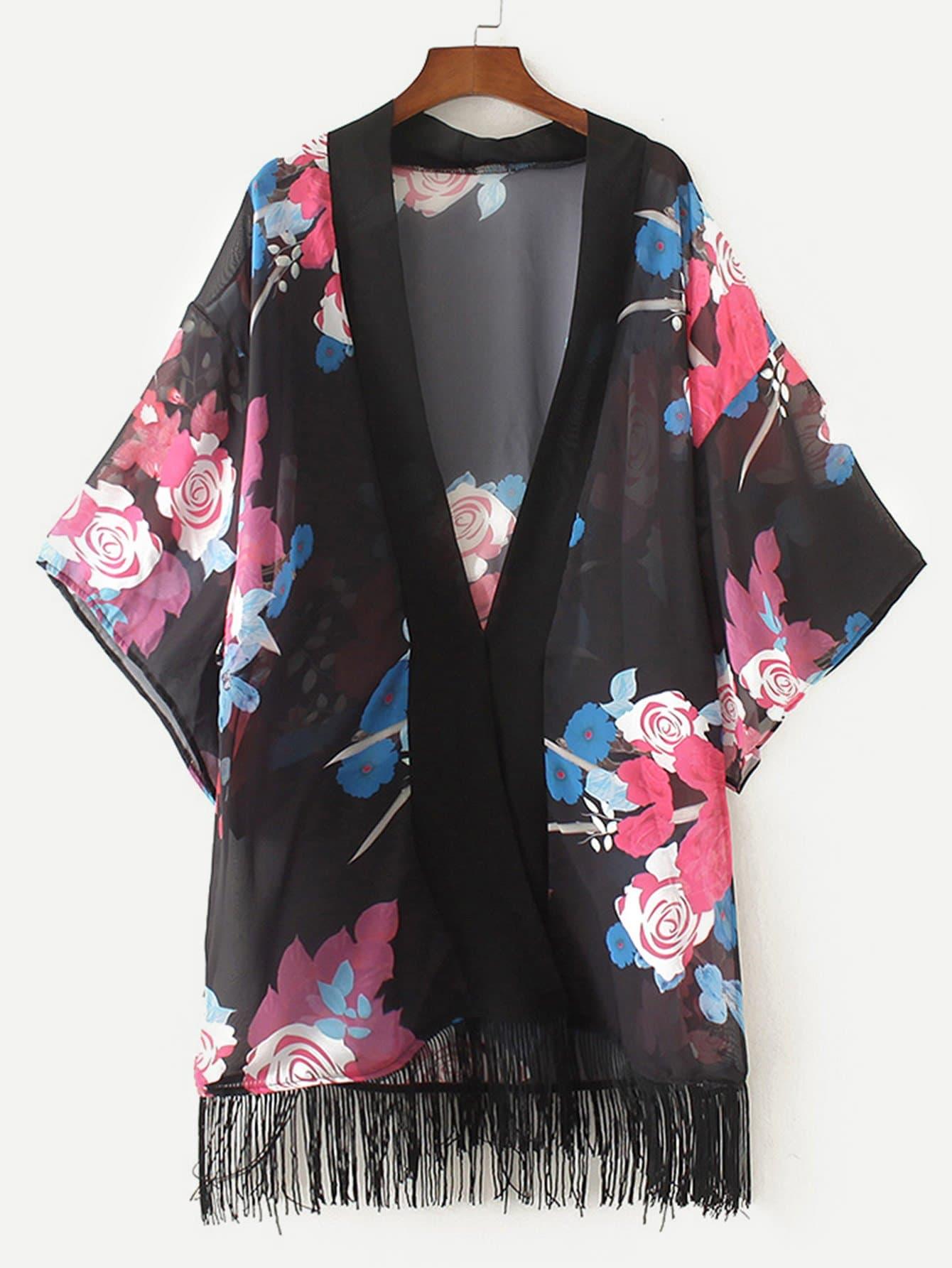 Fringe Hem Floral Print Kimono random print fringe hem kimono