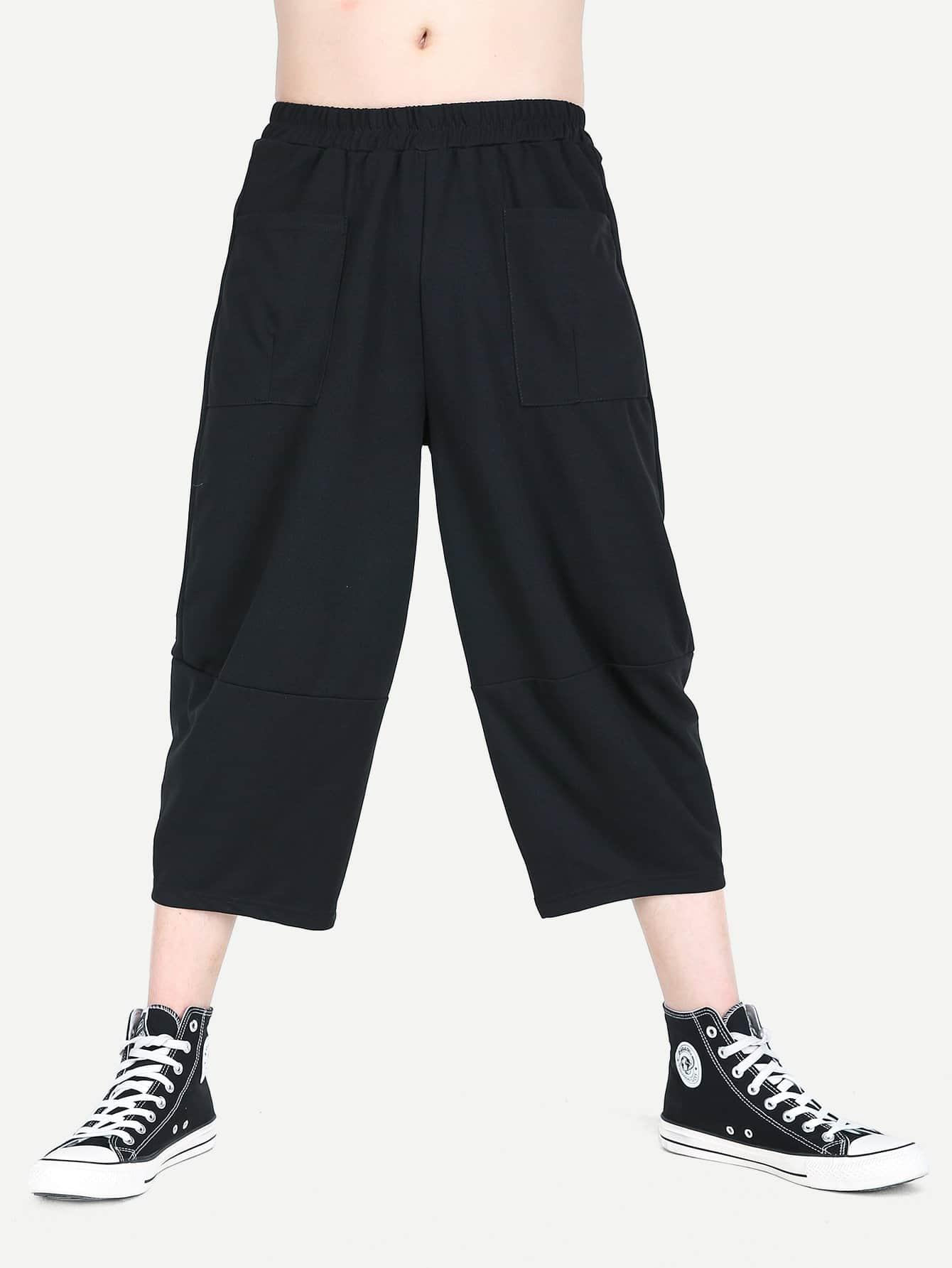 Men Elastic Waist Plain Wide Leg Pants casual elastic waist printed ninth women s wide leg pants