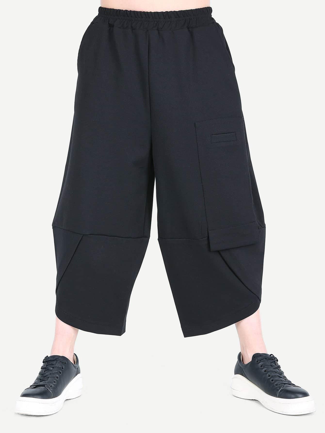 Men Contrast Elastic Waist Wide Leg Pants casual elastic waist printed ninth women s wide leg pants