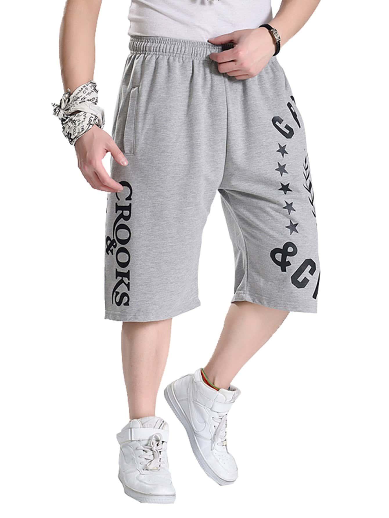Men Letter Print Elastic Waist Shorts men elastic waist ringer shorts