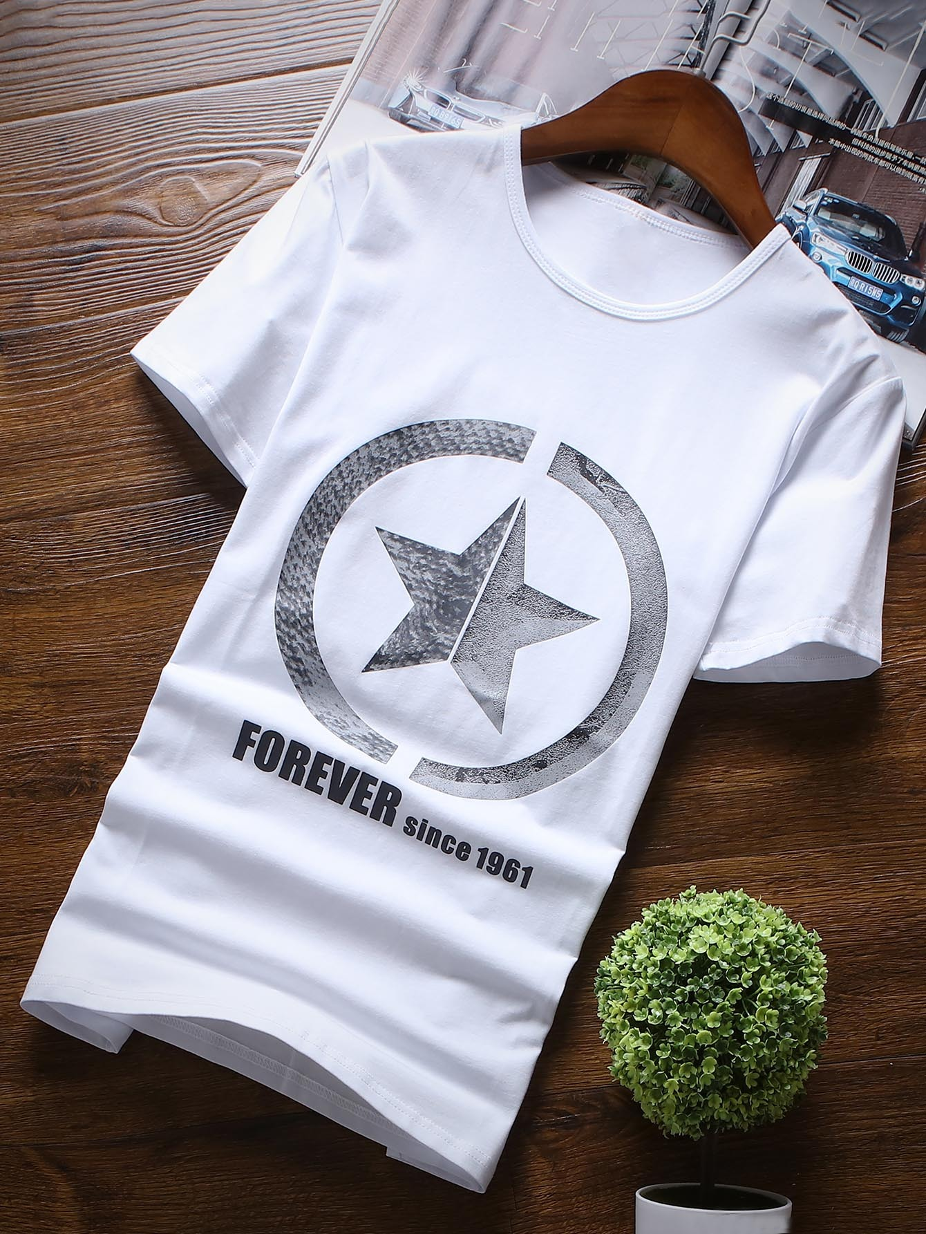 Men Star And Letter Print Tee round neck quick dry solid color short sleeve men s t shirt