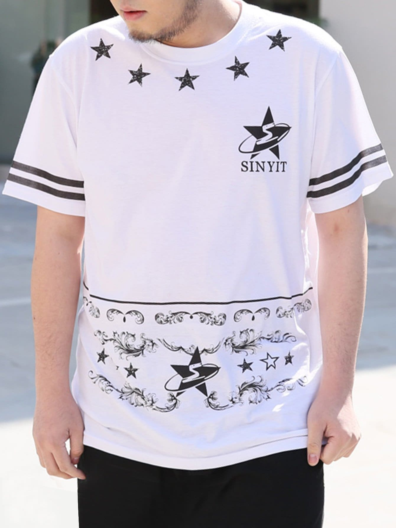 Men Varsity Striped Star Print Tee колодка tdm sq1806 0070