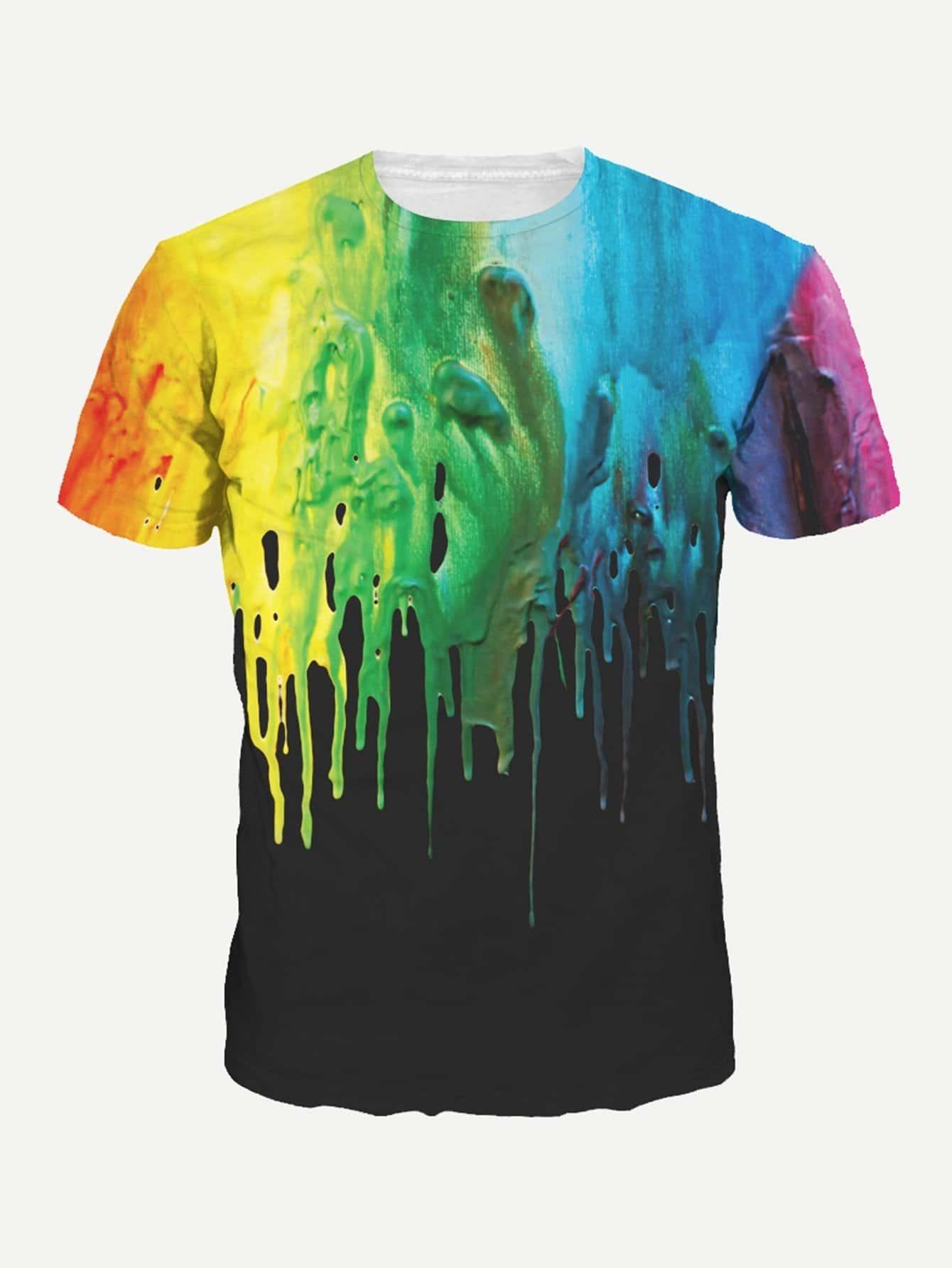 все цены на Men Paint Drip Print Tee