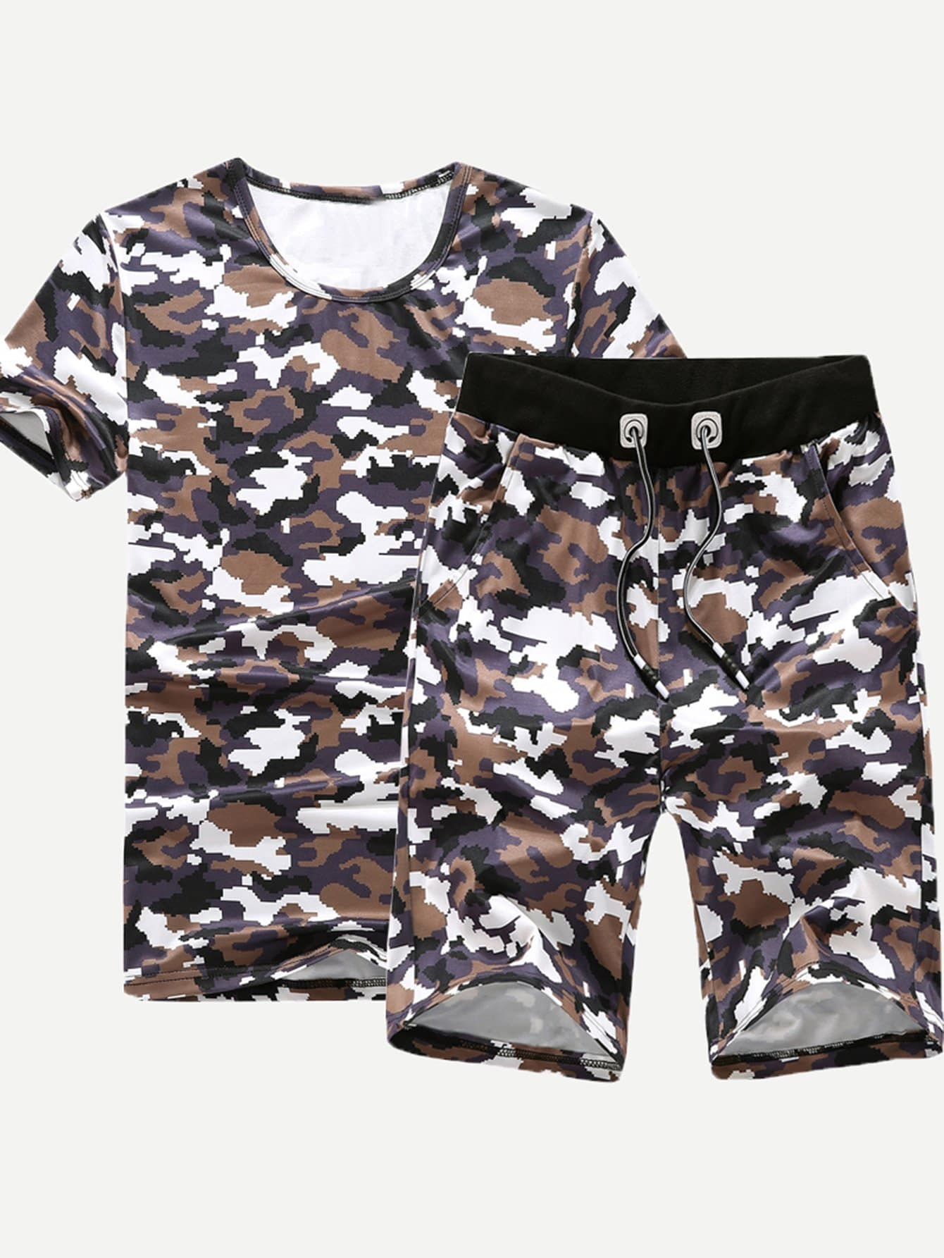 Men Camo Tee With Drawstring Shorts rolsen rda 300
