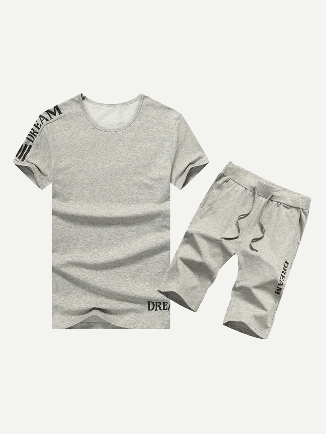 Men Letter Print Tee With Drawstring Shorts letter print hooded tee with shorts