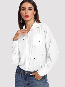 Drop Shoulder Dot Print Shirt