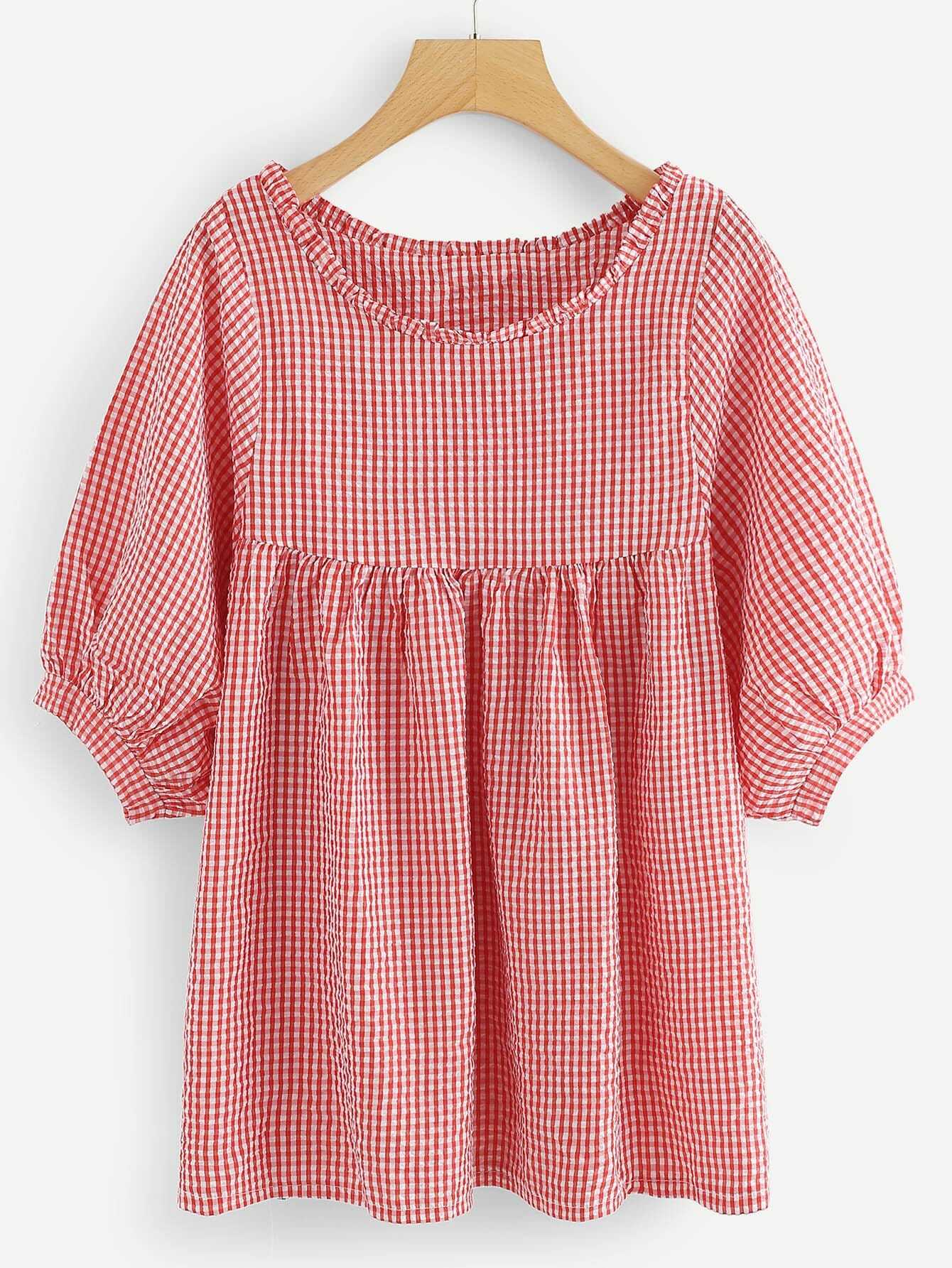 Ruffle Hem Plaid Blouse stylish slim dress hem blouse