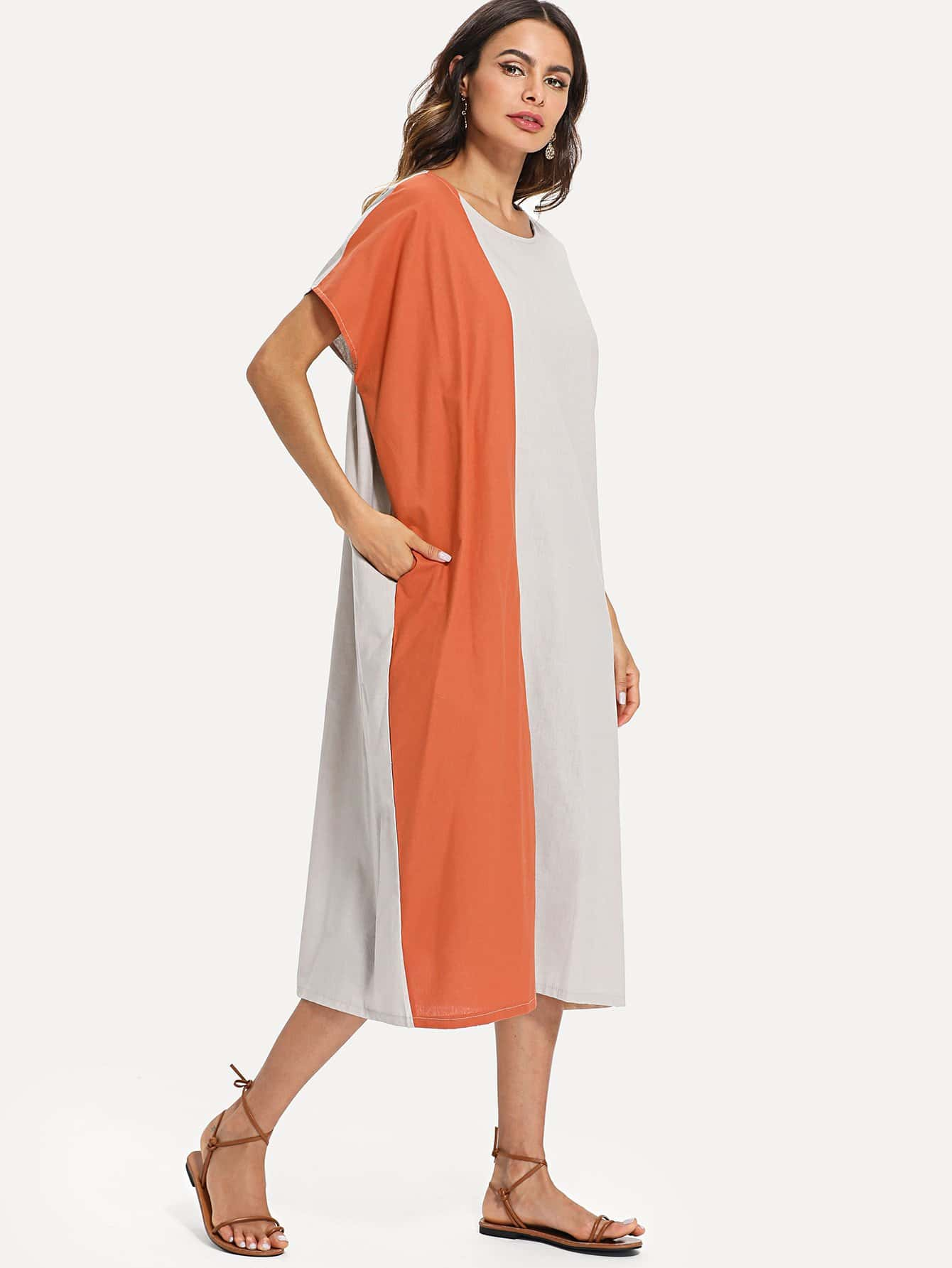 Colorblock Hidden Pocket Dress ballu bhc l06 s03