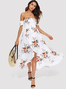 Surplice Wrap Off Shoulder Floral Print Dress