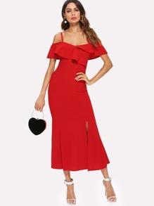 Ruffle Neck Split Side Dress