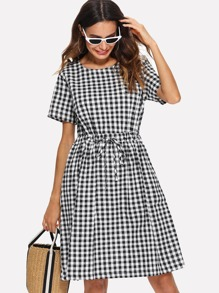 Drawstring Waist Gingham Dress