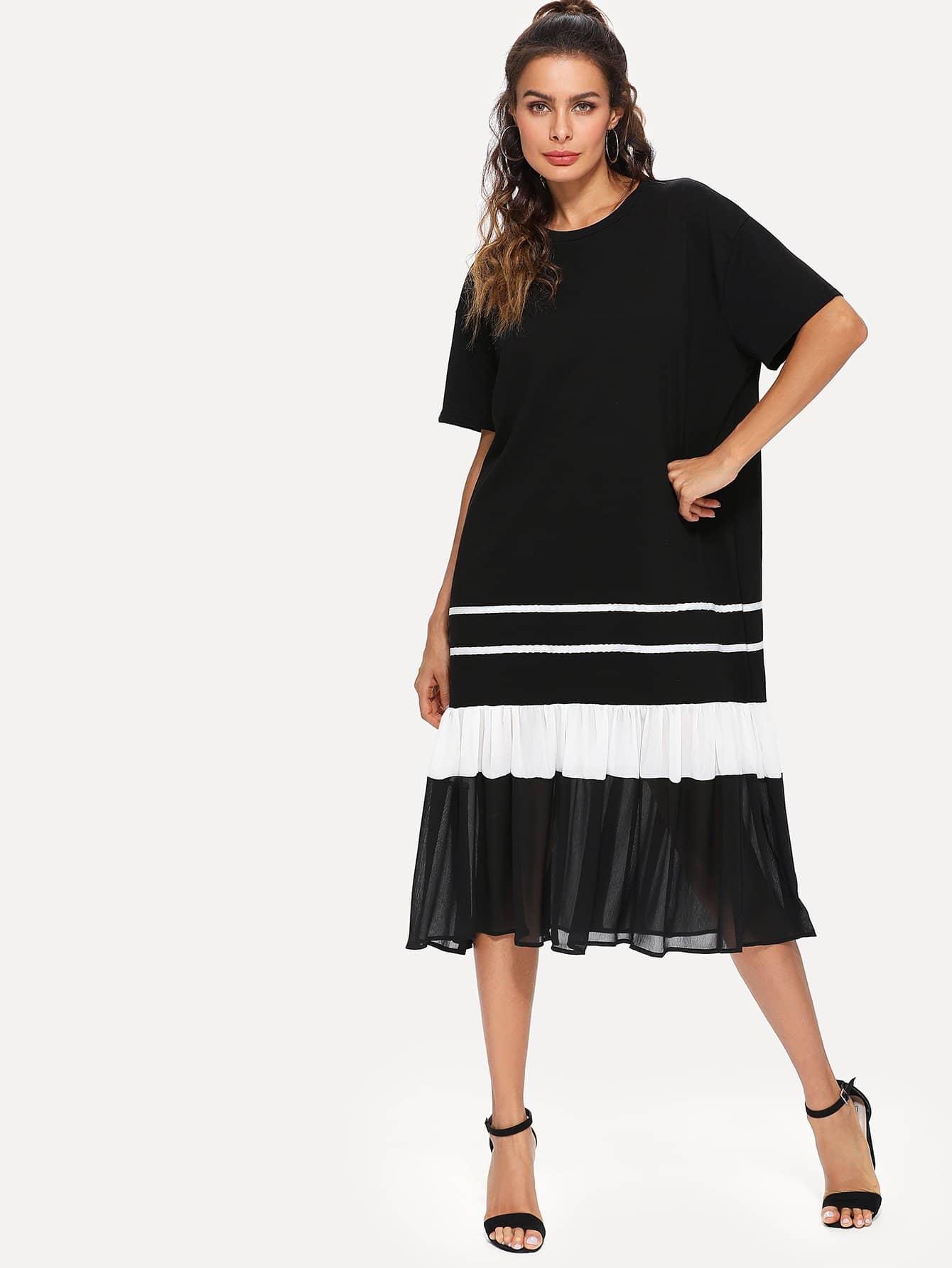 Ruffle Hem Chiffon Contrast Stripe Dress stripe contrast ruffle hem hooded dress
