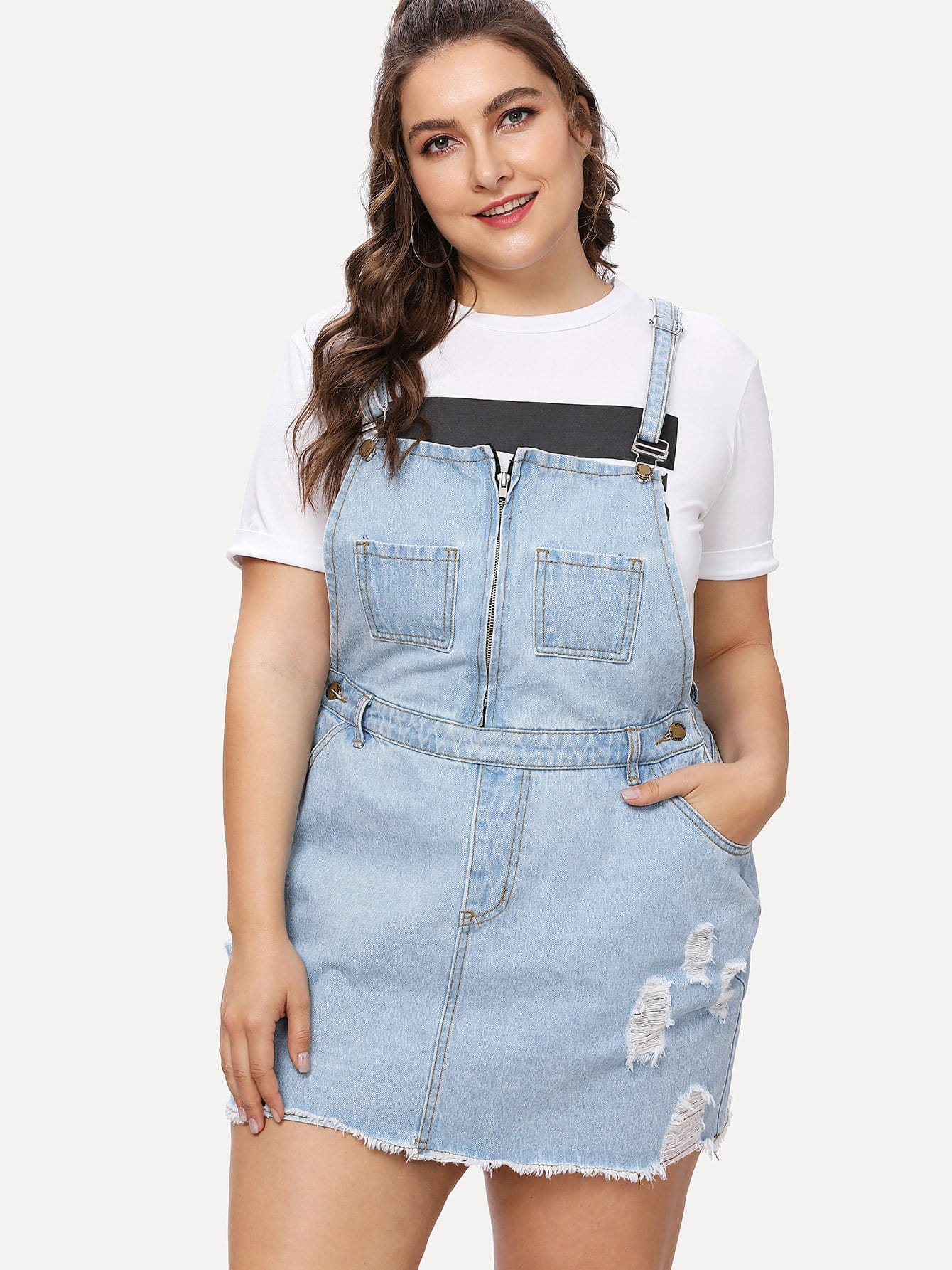 Zip Front Ripped Overall Denim Dress ripped overall denim dress