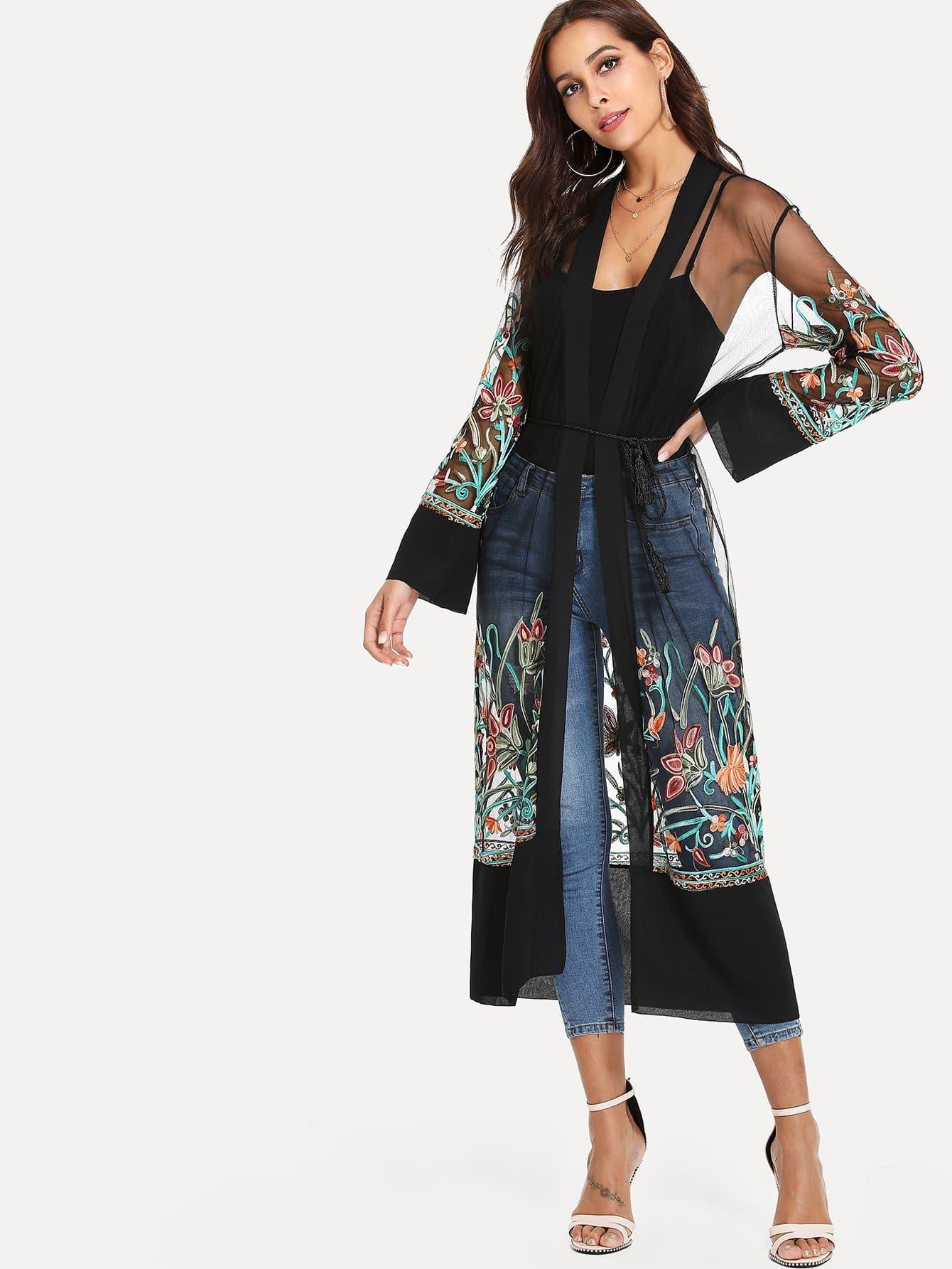 все цены на Botanical Embroidered See Through Mesh Kimono