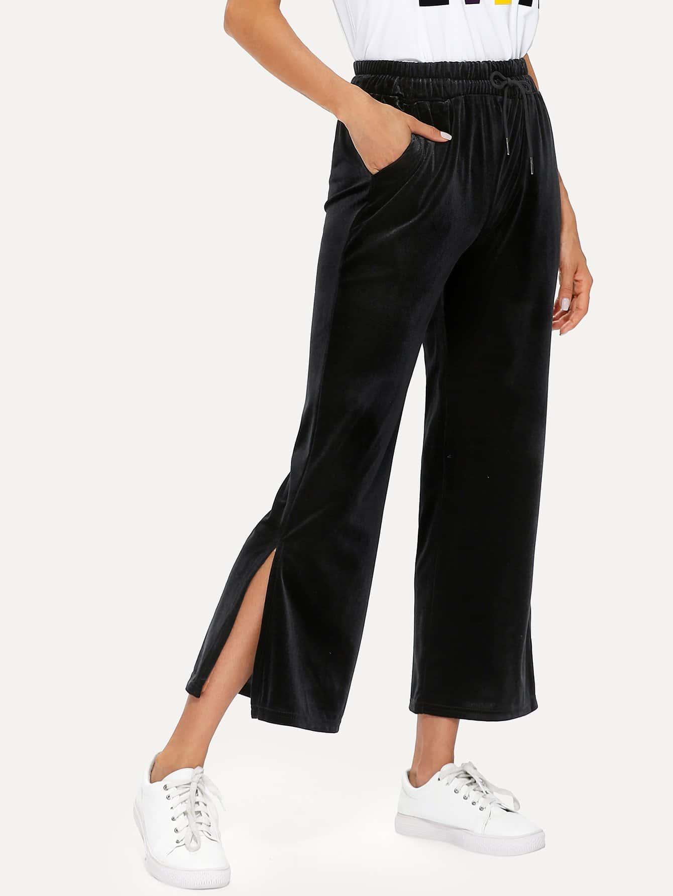 Split Side Drawstring Velvet Wide Leg Pants floral wide leg drawstring pants