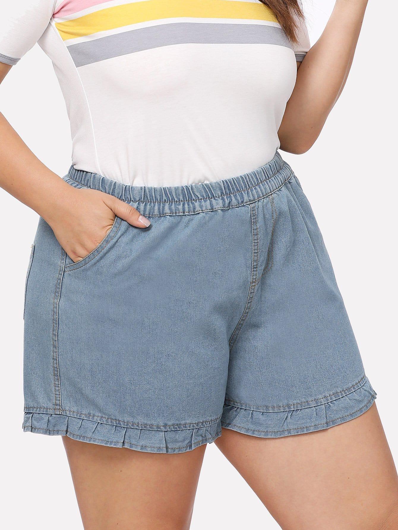 Plus Ruffle Hem Denim Shorts ruffle hem solid shorts