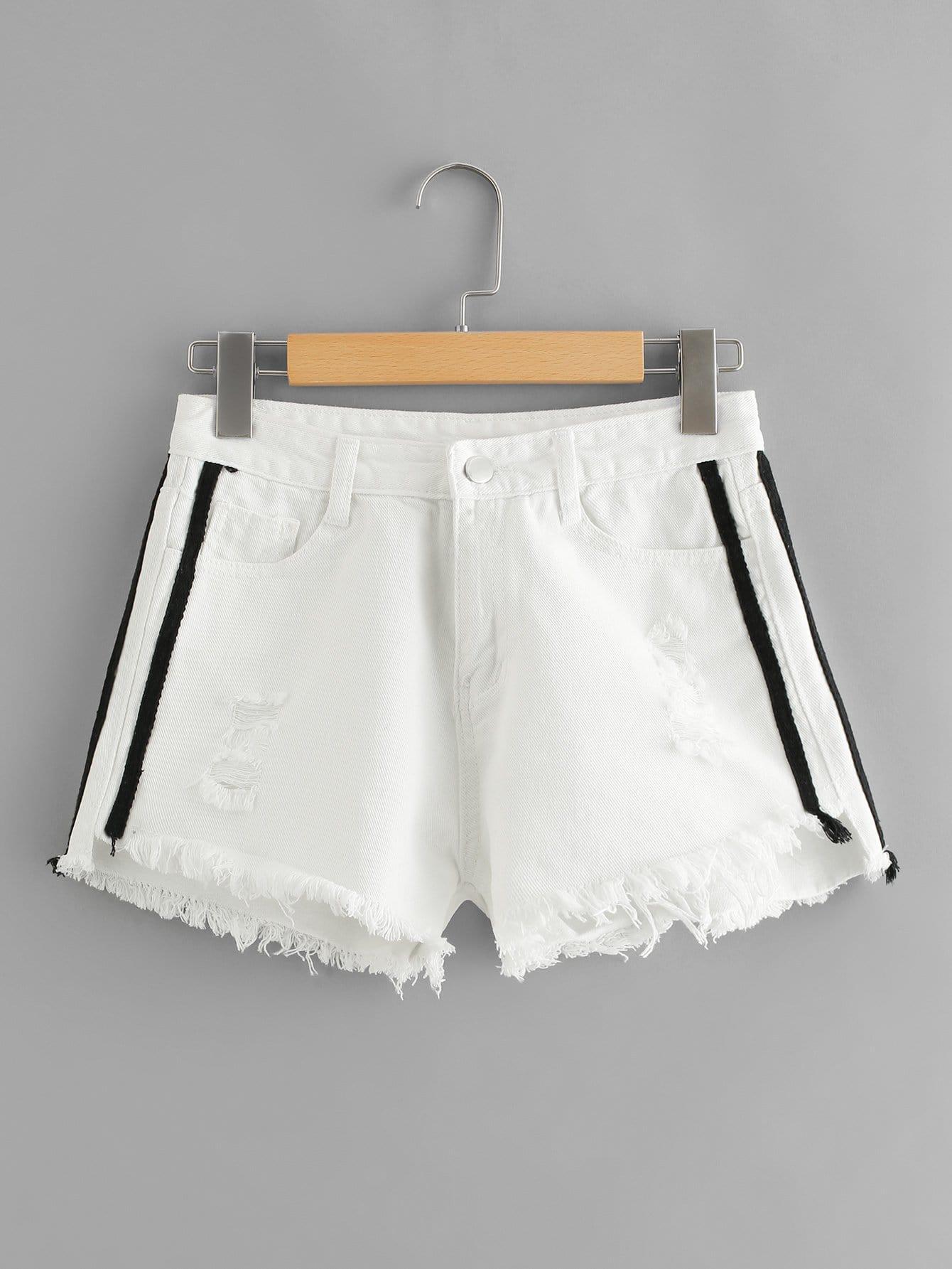 Stripe Contrast Raw Hem Denim Shorts kids stripe side raw hem denim pants