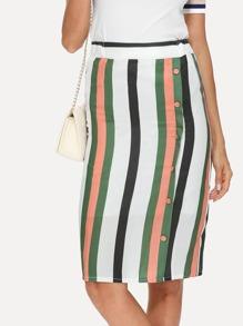 Button Side Stripe Pencil Skirt