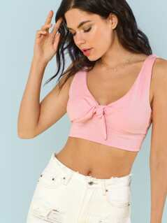 Ribbed Knit Tie Front Crop Top