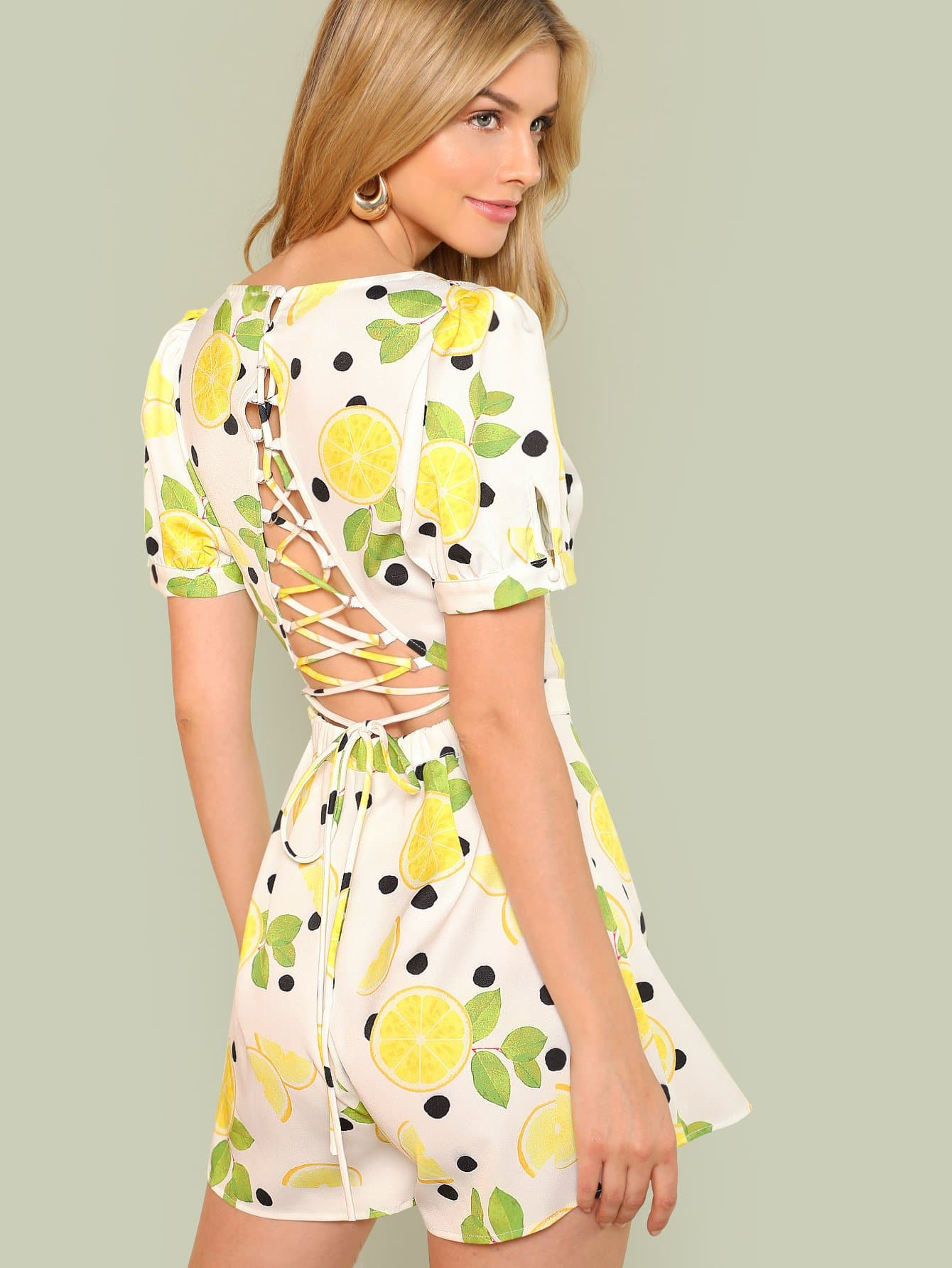Купить Lace Up Back Lemon Print Romper, Marina Laswick, SheIn
