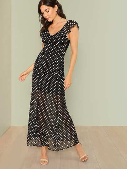 Polka Dot Print Ruffle Maxi Dress