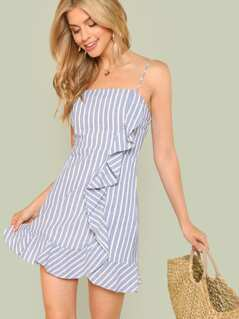 Vertical-Stripe Ruffle Trim Cami Dress