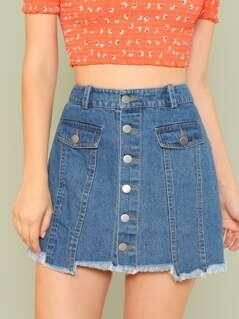 Raw Hem Denim Button Up Skirt