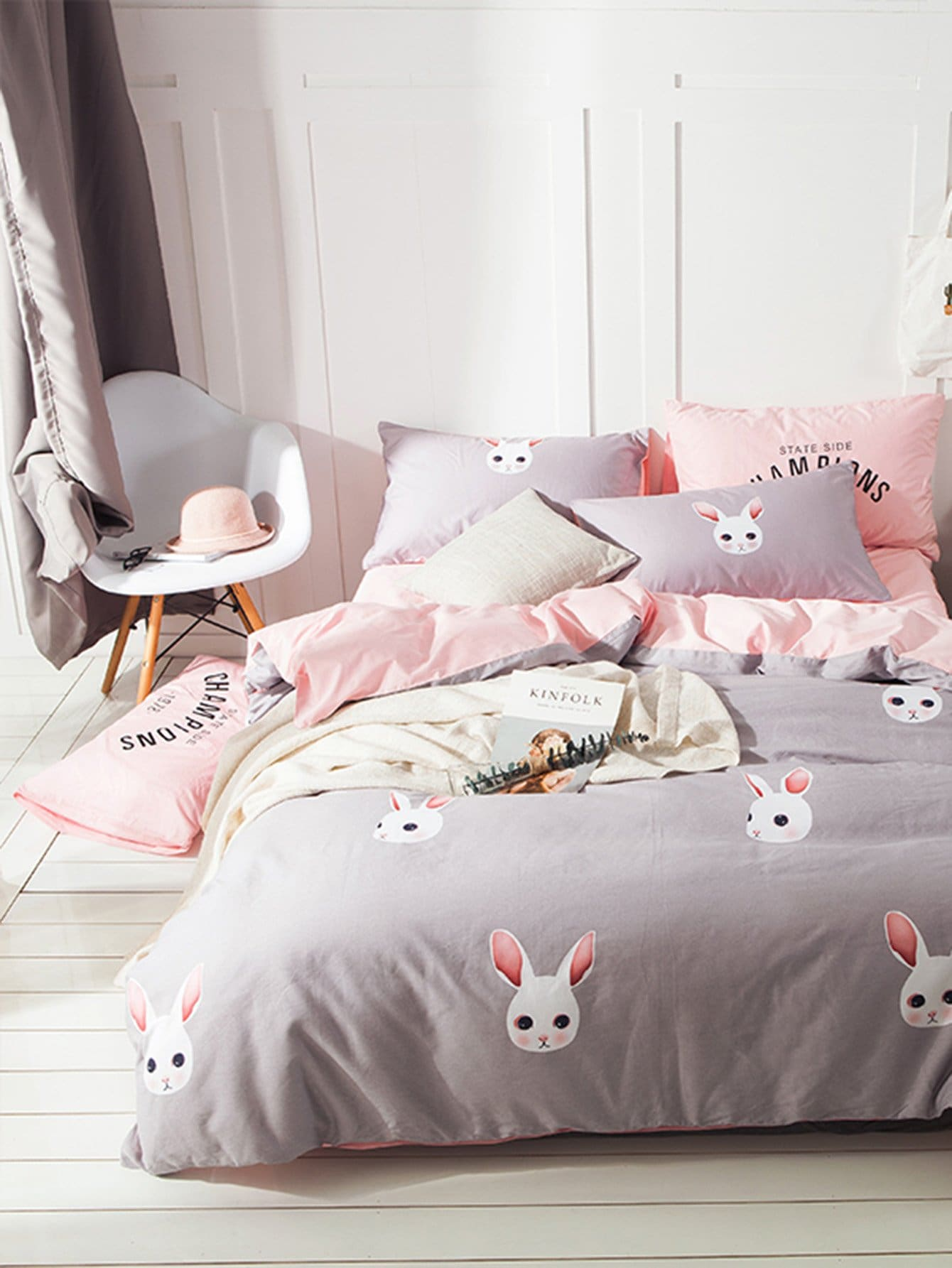3Pcs Rabbit Print Duvet Cover Set rabbit print pullover