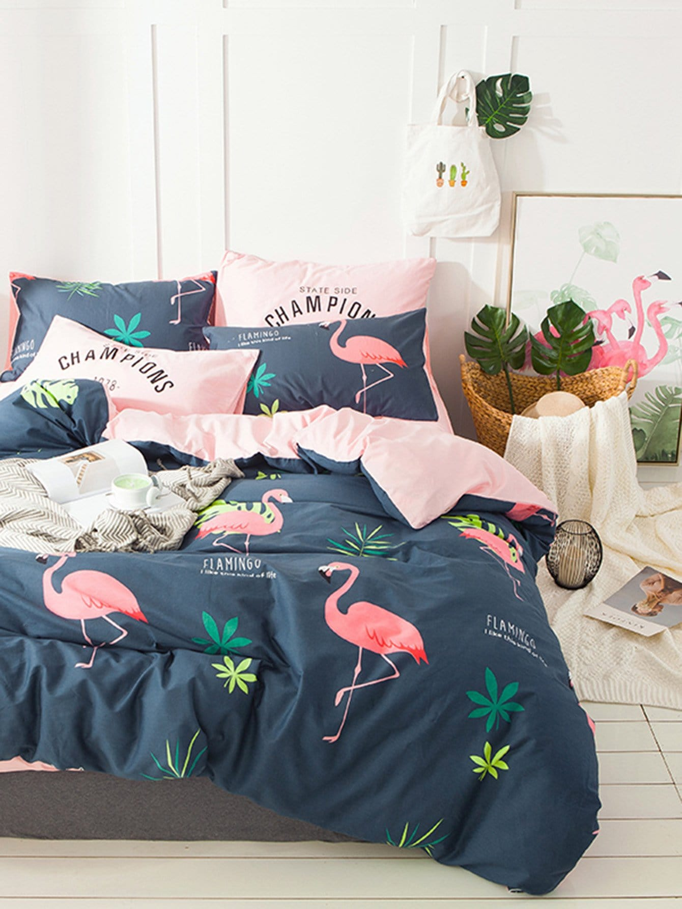 4Pcs Flamingos Print Duvet Cover Set