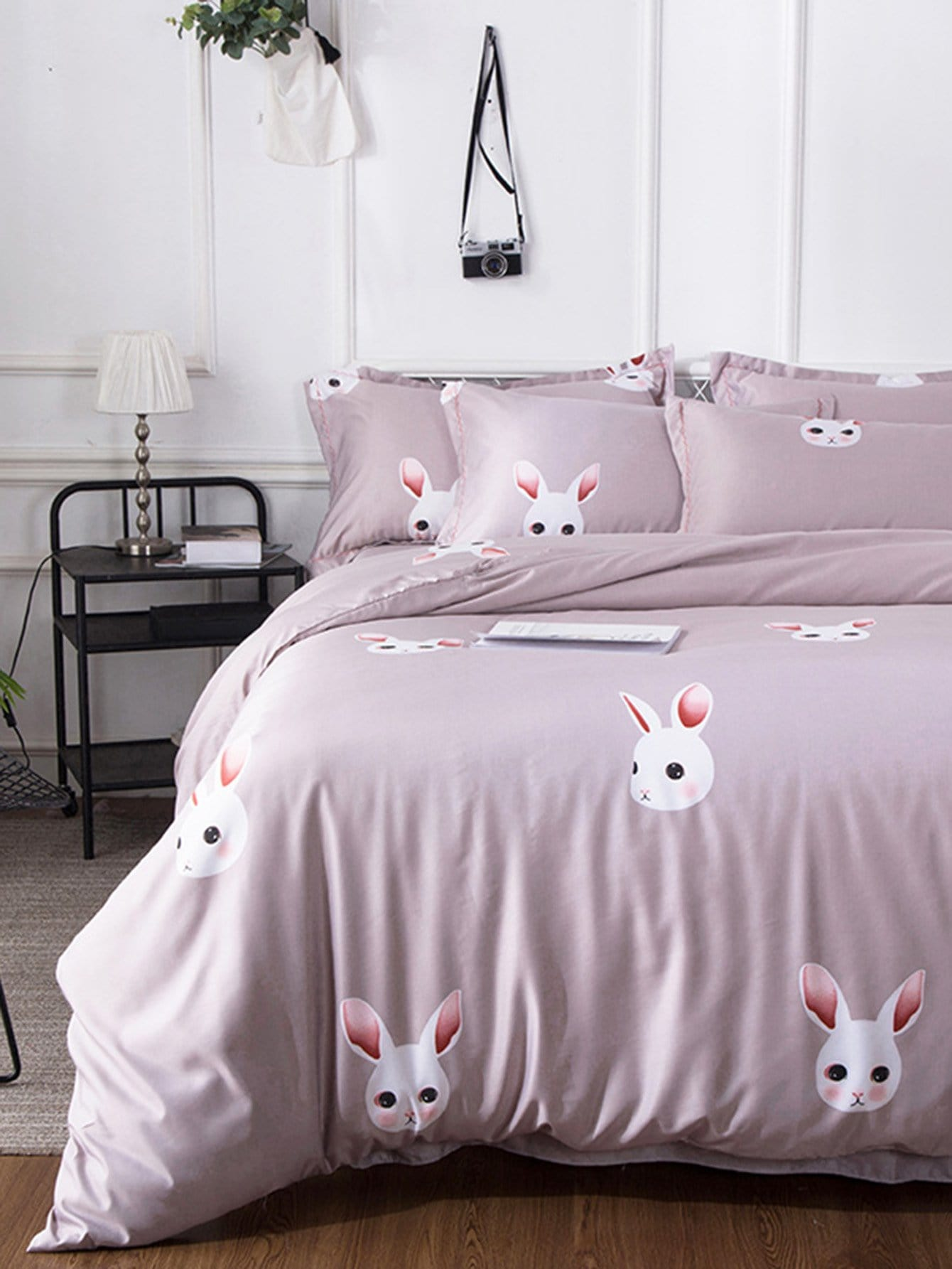 4Pcs Rabbit Print Duvet Cover Set rabbit print pullover