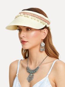 Pom Pom Trim Straw Visor Hat