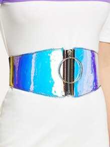 Iridescence Zipper Up Belt
