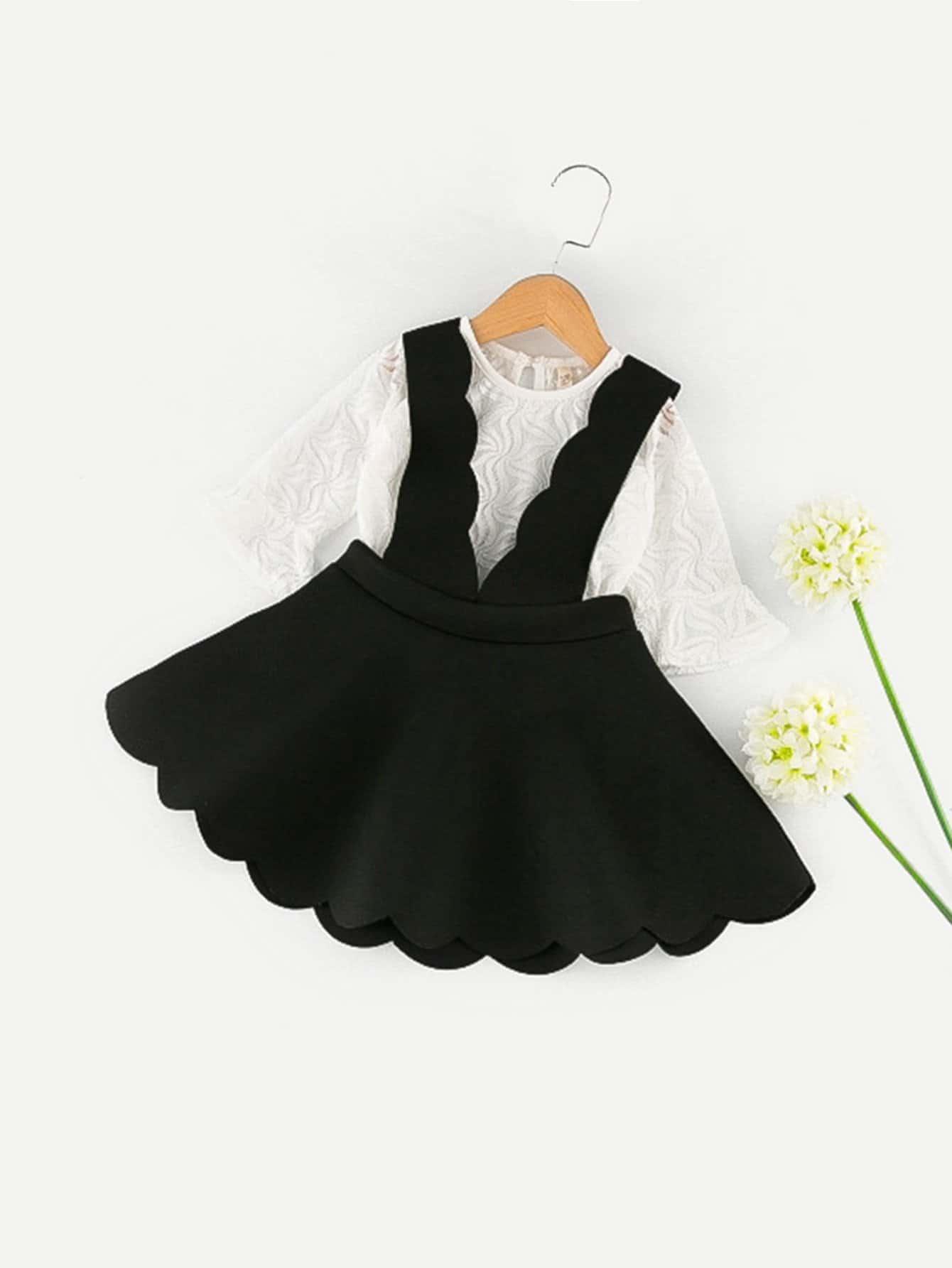 Kids Flounce Sleeve Mesh Top With Pinafore Skirt mesh contrast flounce sleeve top
