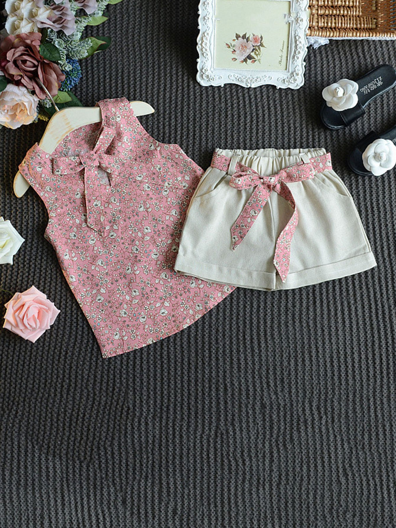 Girls Floral Print Knot Front Top With Shorts
