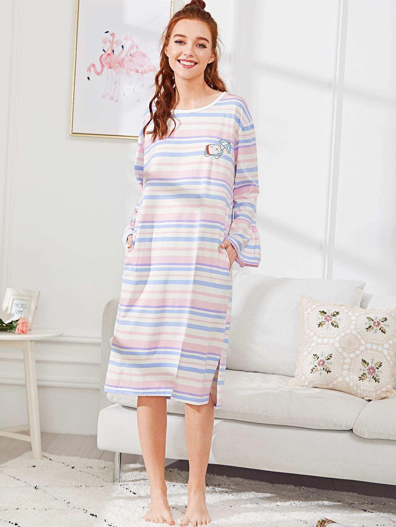 Bear Print Striped Dress exmork 100 вт 12 в poly si