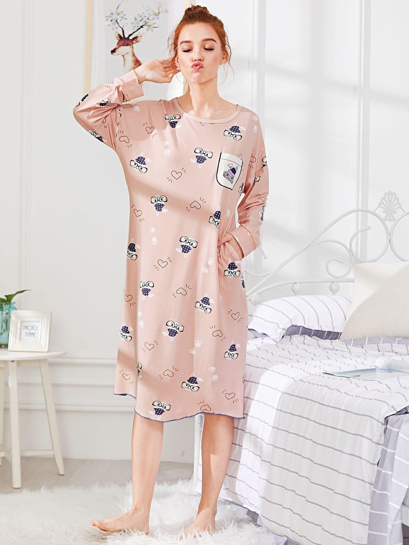 Drop Shoulder Cartoon Print Dress cartoon print drop shoulder sweater