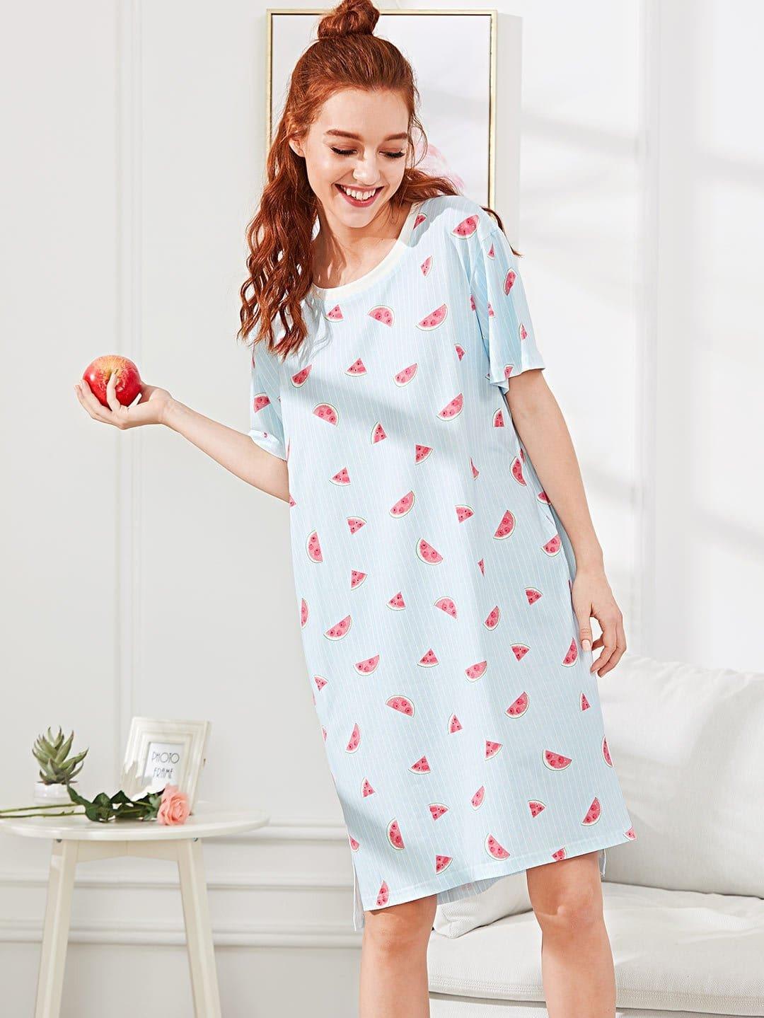 Watermelon Print Split Side Dress
