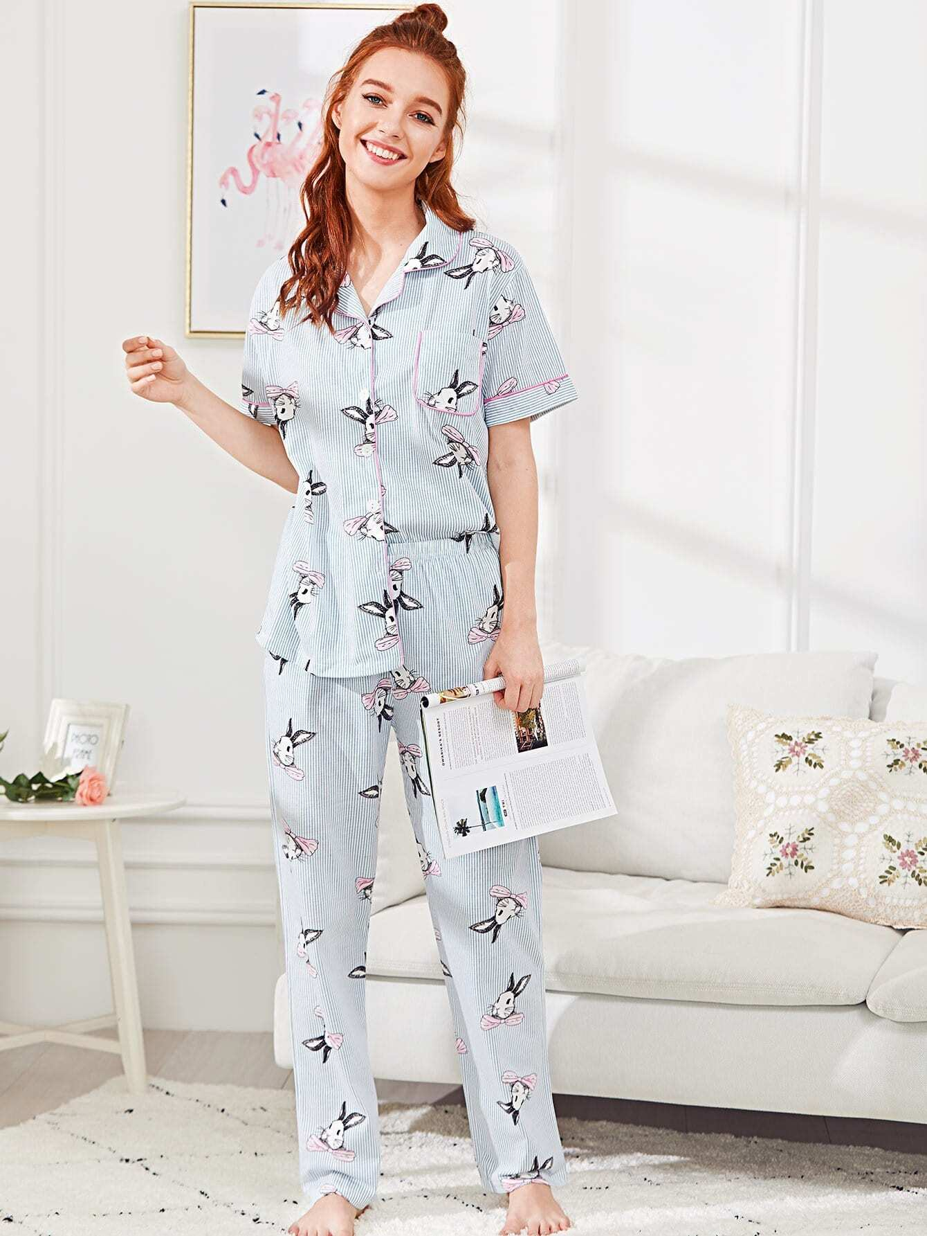 Contrast Binding Rabbit Print Pajama Set цена и фото