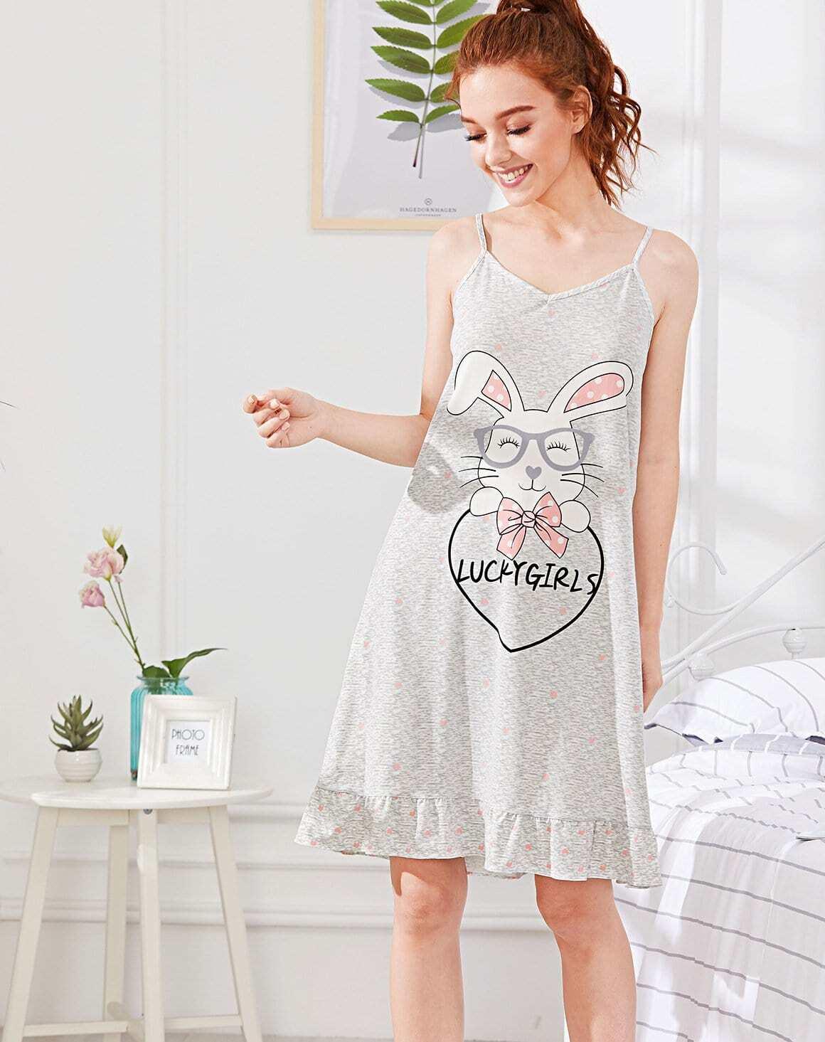 Rabbit Print Cami Dress rabbit print pullover