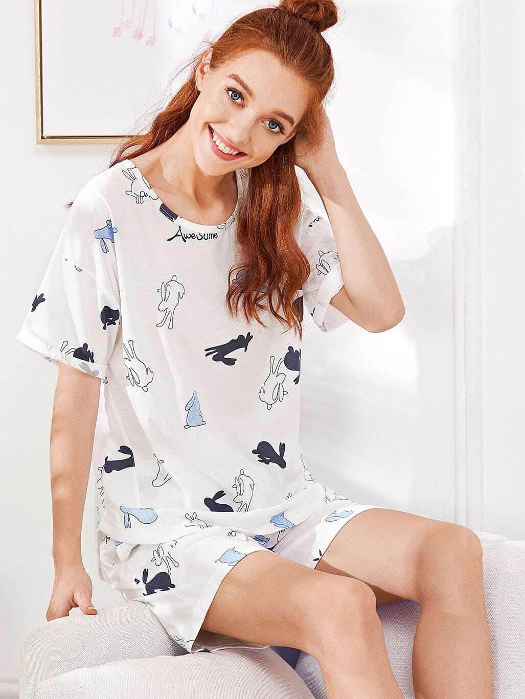 Rabbit Print Pajama Set rabbit print pullover